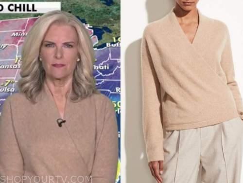 janice dean, fox and friends, beige camel wrap sweater