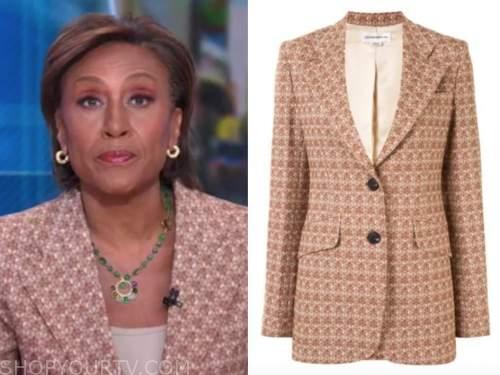 robin roberts, good morning america, brown geometric blazer