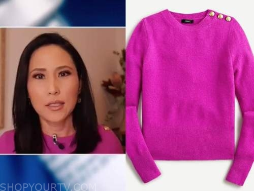 vicky nguyen, the today show, pink button shoulder sweater