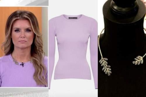 fox and friends, jillian mele, purple knit top, leaf collar necklace
