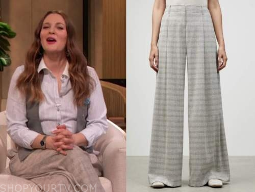 drew barrymore, drew barrymore show, grey plaid pants