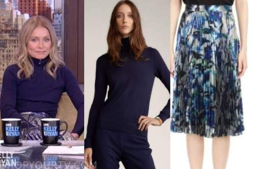 kelly ripa, live with kelly and ryan, navy blue turtleneck, metallic floral pleated skirt