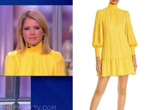 the view, sara haines, yellow mock neck dress