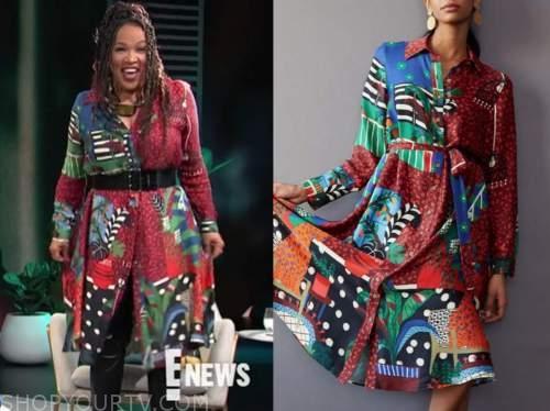 kym whitley, E! news, daily pop, mixed print shirt dress