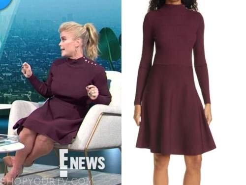 alison sweeney, E! news, daily pop, burgundy button shoulder sweater dress