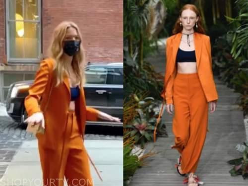 martha hunt, orange pant suit, nyfw, e! news, daily pop