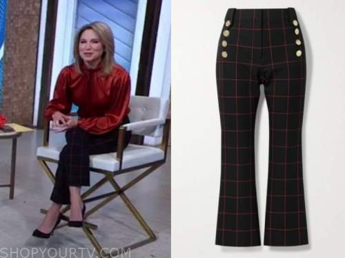 amy robach, good morning america, grid button pants