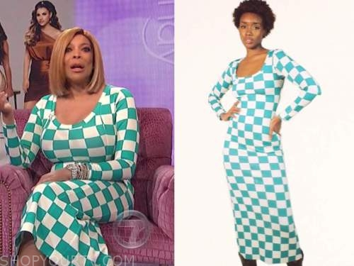 wendy williams, the wendy williams show, blue and white check dress