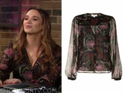 summer newman, hunter king, the young and the restless, floral metallic stripe blouse