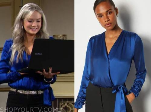 abby newman, melissa ordway, the young and the restless, blue satin wrap bodysuit top