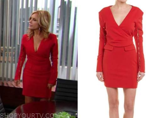 lauren fenmore baldwin, tracey bregman, red dress, the young and the restless
