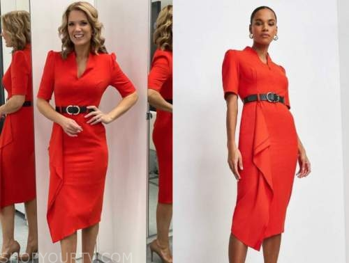 charlotte hawkins, good morning britain, red ruffle belted dress