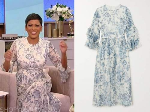 tamron hall, tamron hall show, blue and white floral dress