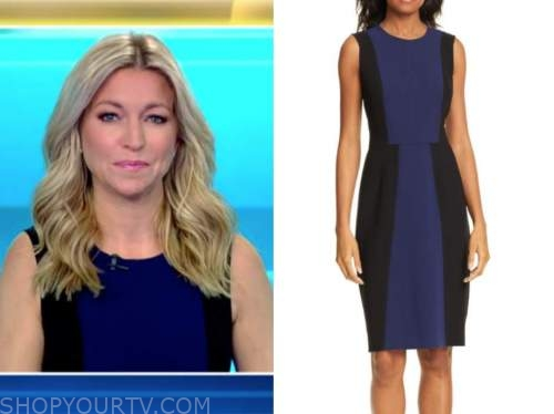 ainsley earhardt, fox and friends, blue and black colorblock sheath dress