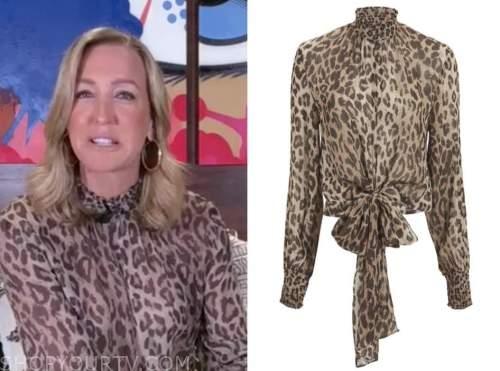good morning america, lara spencer, leopard mock neck blouse