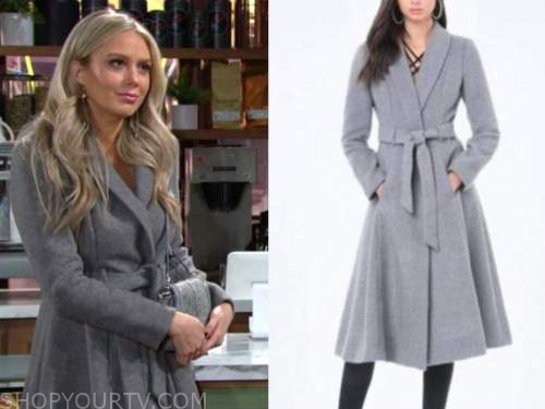abby newman, melissa ordway, the young and the restless, grey coat
