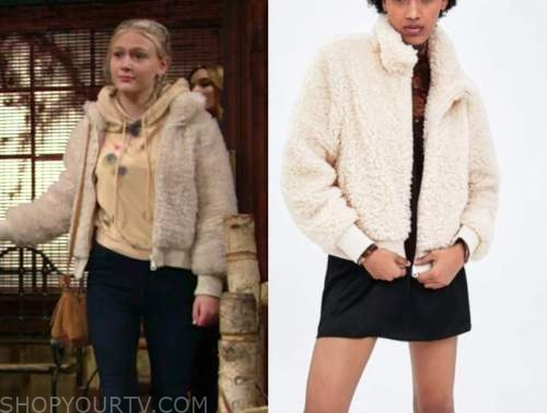 faith newman, alyvia alyn lind, the young and the restless, beige sherpa bomber jacket