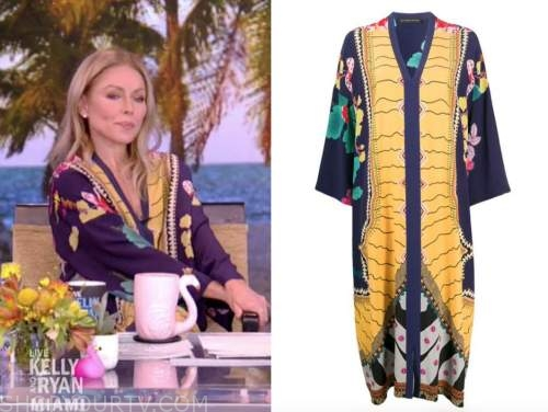 kelly ripa, live with kelly and ryan, navy blue and yellow kaftan dress