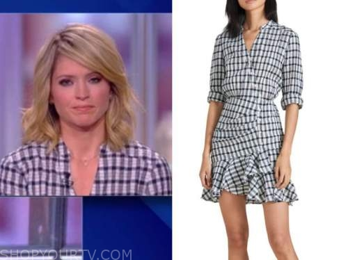 sara haines, the view, navy blue gingham dress