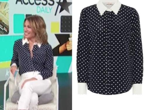 kit hoover, access daily, black and white polka dot blouse