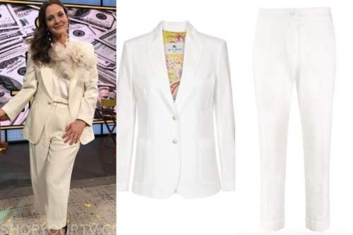 drew barrymore, drew barrymore show, white pant suit, birthday