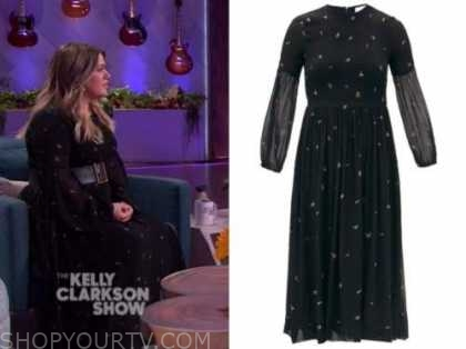 kelly clarkson, the kelly clarkson show, black floral smocked dress