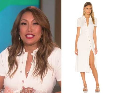 carrie ann inaba, the talk, white knit midi dress