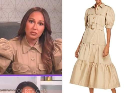 adrienne bailon, the real, khaki puff sleeve dress