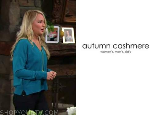 sharon newman, sharon case, the young and the restless, blue sweater