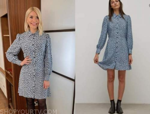 holly willoughby, blue printed shirt dress, this morning