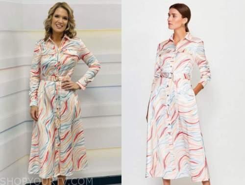 charlotte hawkins, good morning britain, zebra midi shirt dress