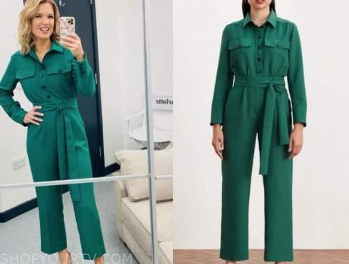 charlotte hawkins, good morning britain, green jumpsuit