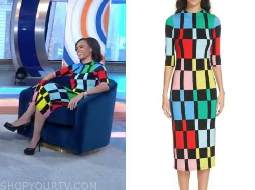linsey davis, good morning america, colorblock dress