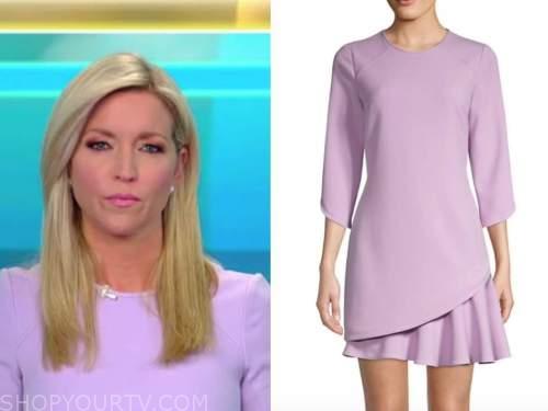 ainsley earhardt, fox and friends, lilac purple dress