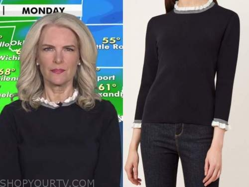 janice dean, navy blue and white ruffle trim sweater, fox and friends