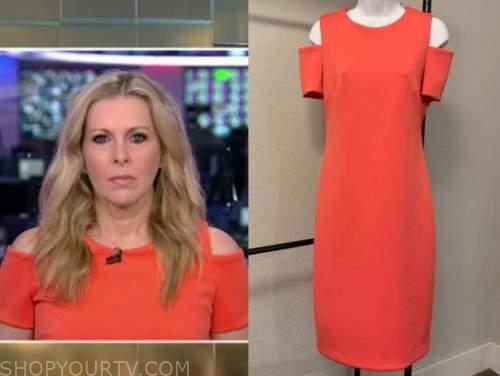 cheryl casone, orange coral cold-shoulder dress, fox and friends