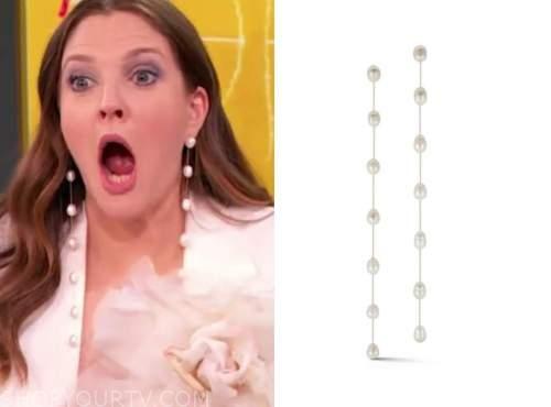 drew barrymore, drew barrymore show, pearl drop earrings