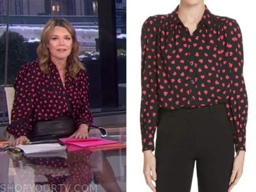 savannah guthrie, the today show, black and pink heart print blouse