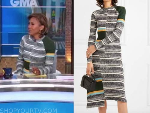 robin roberts, good morning america, striped sweater and striped skirt