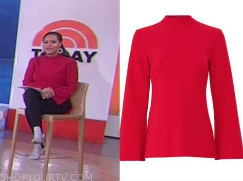 sheinelle jones, the today show, red mock neck bell sleeve top