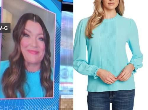 jamie kern lima, good morning america, blue pleated ruffle blouse