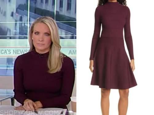 dana perino, america's newsroom, burgundy button shoulder dress