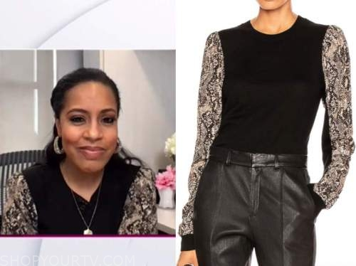 sheinelle jones, the today show, black snakeskin sweater top