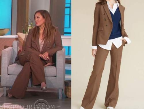 carrie ann inaba, the talk, brown plaid double breasted blazer and pant suit