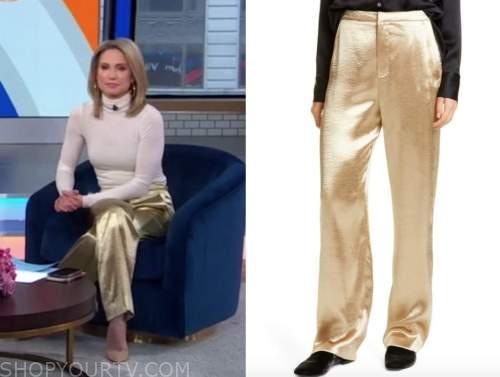 good morning america, gold pants, amy robach