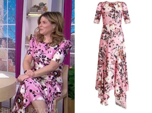jenna bush hager, the today show, pink floral midi dress
