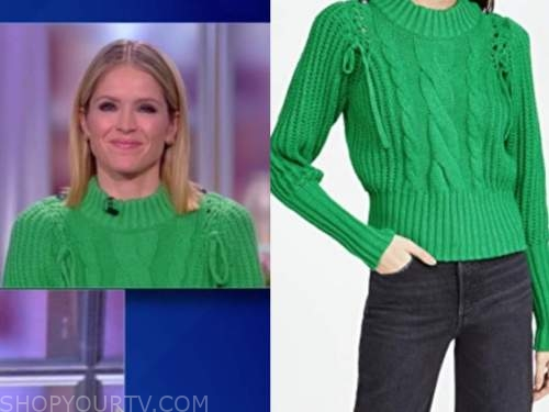 sara haines, the view, green cable knit sweater