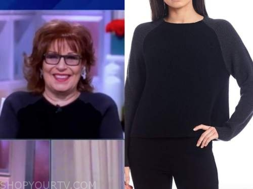 joy behar, the view, colorblock black and grey sweater