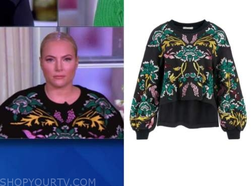 meghan mccain, the view, black printed sweater