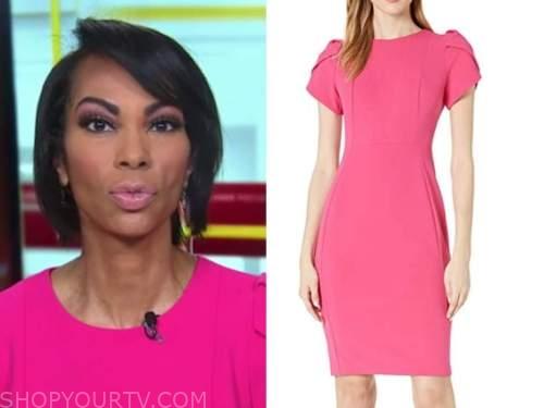 harris faulkner, pink puff sleeve sheath dress, outnumbered